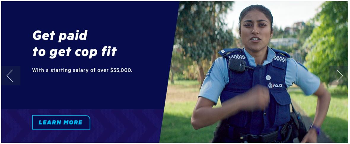 Screenshot Polizei Neuseeland Karriereseite