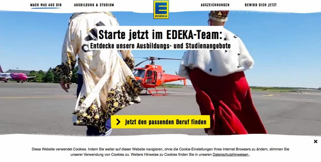 Screenshot Edeka Berufsbildungs-Landingpage