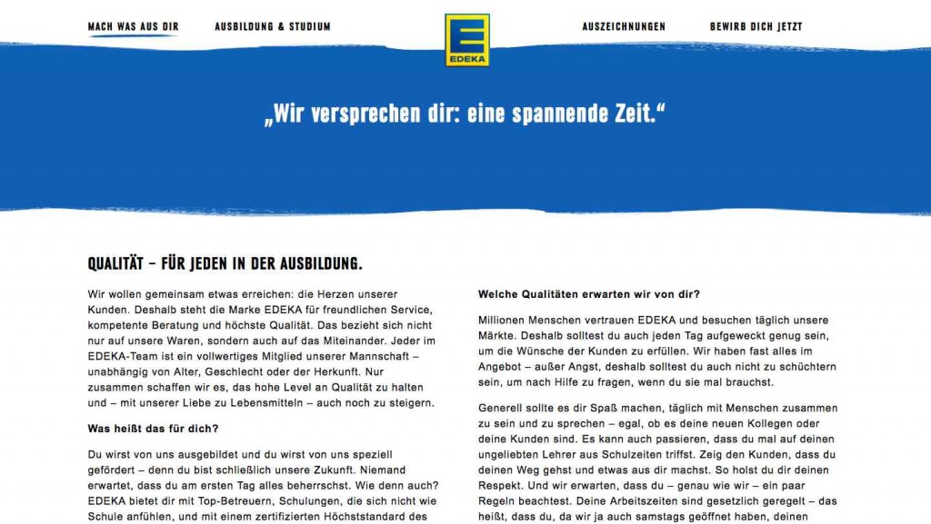 Edeka Ausbildungsmarketing Screenshot Landingpage
